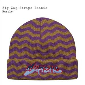 dca4d13f16a Supreme Accessories - Supreme Purple Zig Zag Beanie FW17 Deadstock